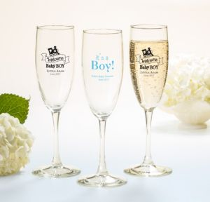 Personalized Baby Shower Champagne Flutes (Printed Glass) (Black, Welcome Boy)