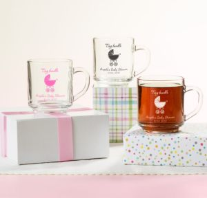 Personalized Baby Shower Glass Coffee Mugs (Printed Glass) (Black, Tiny Bundle)