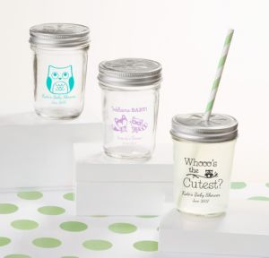 Personalized Baby Shower Mason Jars with Daisy Lids, Set of 12 (Printed Glass) (Black, Woodland)