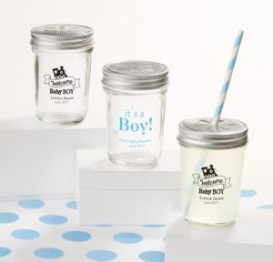 Personalized Baby Shower Mason Jars with Daisy Lids, Set of 12 (Printed Glass) (Black, Welcome Boy)