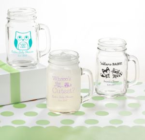 Personalized Baby Shower Mason Jar Mugs (Printed Glass) (Black, Woodland)