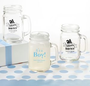 Personalized Baby Shower Mason Jar Mugs (Printed Glass) (Black, Welcome Boy)