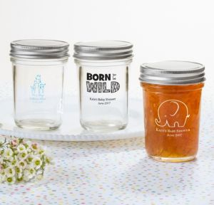 Personalized Baby Shower Mason Jars with Solid Lids (Printed Glass) (Black, Blue Safari)