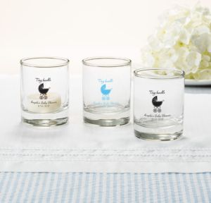 Personalized Baby Shower Shot Glasses (Printed Glass) (Black, Tiny Bundle)