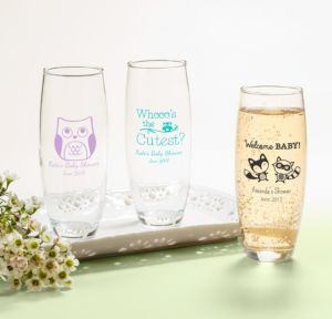 Personalized Baby Shower Stemless Champagne Flutes (Printed Glass) (Black, Woodland)