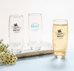 Personalized Baby Shower Stemless Champagne Flutes (Printed Glass) (Black, Welcome Boy)