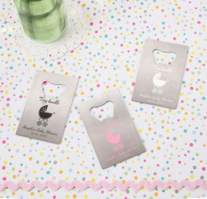 Personalized Baby Shower Credit Card Bottle Openers - Silver (Printed Metal) (Pink, Tiny Bundle)