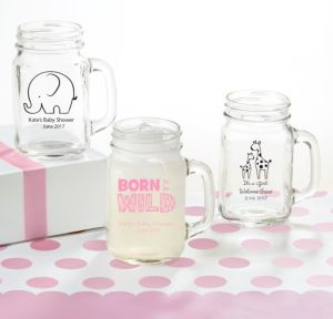 Personalized Baby Shower Mason Jar Mugs (Printed Glass) (Pink, Pink Safari)