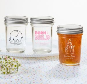 Personalized Baby Shower Mason Jars with Solid Lids (Printed Glass) (Pink, Pink Safari)