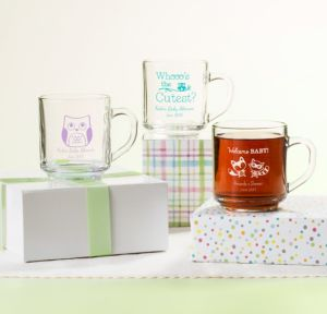 Personalized Baby Shower Glass Coffee Mugs (Printed Glass) (Robin's Egg Blue, Woodland)