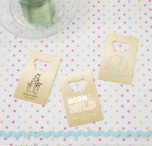 Personalized Baby Shower Credit Card Bottle Openers - Gold (Printed Metal) (Sky Blue, Blue Safari)