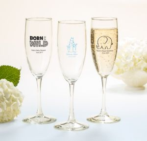 Personalized Baby Shower Champagne Flutes (Printed Glass) (Sky Blue, Blue Safari)