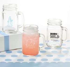 Personalized Baby Shower Mason Jar Mugs (Printed Glass) (Sky Blue, Blue Safari)