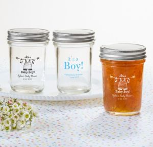 Personalized Baby Shower Mason Jars with Solid Lids (Printed Glass) (Sky Blue, Shower Love Boy)