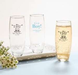Personalized Baby Shower Stemless Champagne Flutes (Printed Glass) (Sky Blue, Shower Love Boy)