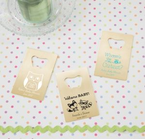 Personalized Baby Shower Credit Card Bottle Openers - Gold (Printed Metal) (White, Woodland)