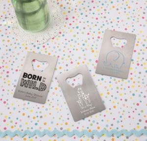 Personalized Baby Shower Credit Card Bottle Openers - Silver (Printed Metal) (White, Blue Safari)
