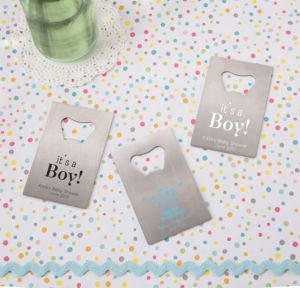 Personalized Baby Shower Credit Card Bottle Openers - Silver (Printed Metal) (White, Shower Love Boy)