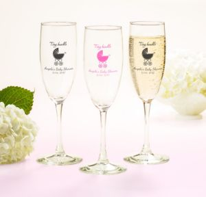 Personalized Baby Shower Champagne Flutes (Printed Glass) (White, Tiny Bundle)
