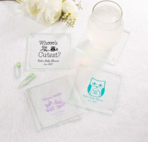 Personalized Baby Shower Glass Coasters, Set of 12 (Printed Glass) (White, Woodland)