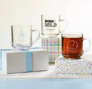 Personalized Baby Shower Glass Coffee Mugs (Printed Glass) (White, Blue Safari)