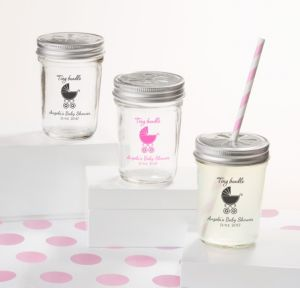 Personalized Baby Shower Mason Jars with Daisy Lids, Set of 12 (Printed Glass) (Bright Pink, Tiny Bundle)