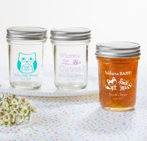 Personalized Baby Shower Mason Jars with Solid Lids (Printed Glass) (White, Woodland)