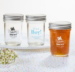 Personalized Baby Shower Mason Jars with Solid Lids (Printed Glass) (White, Welcome Boy)