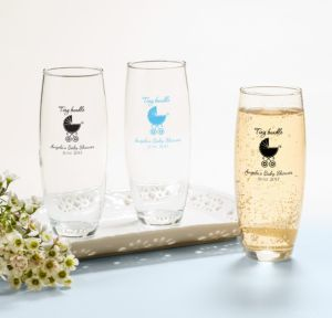 Personalized Baby Shower Stemless Champagne Flutes (Printed Glass) (White, Tiny Bundle)