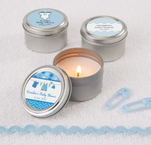 Personalized Baby Shower Wedding Candle Tins (Printed Label) (Shower Love Boy)