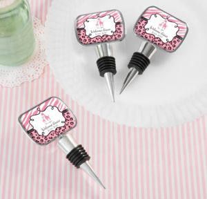 Personalized Baby Shower Bottle Stoppers (Printed Epoxy Label) (Red, Pink Safari)