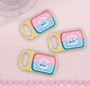Personalized Baby Shower Bottle Openers - Gold (Printed Epoxy Label) (Gold, Gender Reveal)