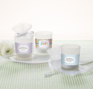 Personalized Baby Shower Glass Votive Candle Holders (Printed Label) (Baby Brights)