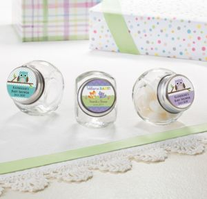Personalized Baby Shower Small Glass Jars (Printed Label) (Woodland)