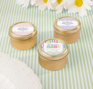 Personalized Baby Shower Round Candy Tins - Gold (Printed Label) (Gold, Baby Brights)