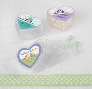 Personalized Baby Shower Heart-Shaped Plastic Favor Boxes, Set of 12 (Printed Label) (Woodland)