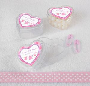 Personalized Baby Shower Heart-Shaped Plastic Favor Boxes, Set of 12 (Printed Label) (Shower Love Girl)