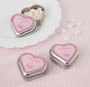 Personalized Baby Shower Heart-Shaped Mint Tins with Candy (Printed Label) (Silver, Welcome Girl)
