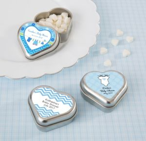 Personalized Baby Shower Heart-Shaped Mint Tins with Candy (Printed Label) (Silver, Shower Love Boy)