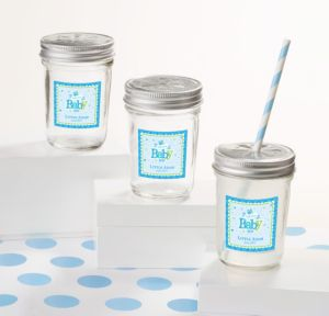 Personalized Baby Shower Mason Jars with Daisy Lids (Printed Label) (Welcome Boy)