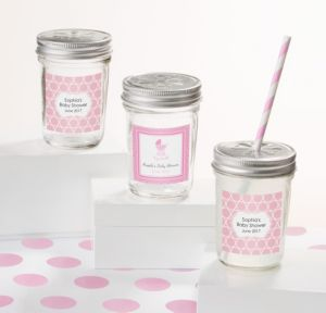 Personalized Baby Shower Mason Jars with Daisy Lids (Printed Label) (Celebrate Girl)