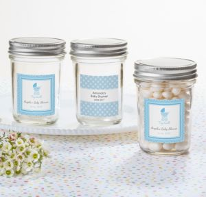 Personalized Baby Shower Mason Jars with Solid Lids (Printed Label) (Celebrate Boy)