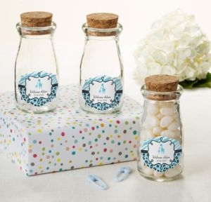 Personalized Baby Shower Glass Milk Bottles with Corks (Printed Label) (Blue Safari)