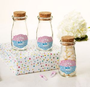 Personalized Baby Shower Glass Milk Bottles with Corks (Printed Label) (Gender Reveal)