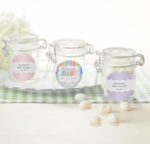 Personalized Baby Shower Glass Candy Jars (Printed Label) (Baby Brights)