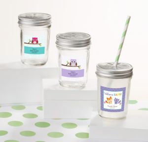 Personalized Baby Shower Mini Glass Mason Jars (Printed Label) (Woodland)