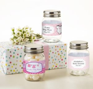 Personalized Baby Shower Mini Glass Mason Jars (Printed Label) (Shower Love Girl)