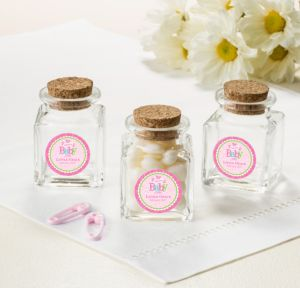 Personalized Baby Shower Small Glass Bottles with Corks (Printed Label) (Welcome Girl)