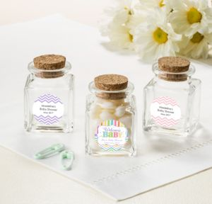 Personalized Baby Shower Small Glass Bottles with Corks (Printed Label) (Baby Brights)