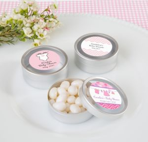 Personalized Baby Shower Round Candy Tins - Silver, Set of 12 (Printed Label) (Shower Love Girl)